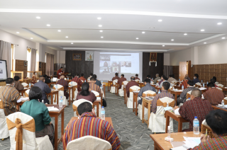 People attending to hybrid legislative drafting seminar with the Parliament of Bhutan, 3–7 August 2020