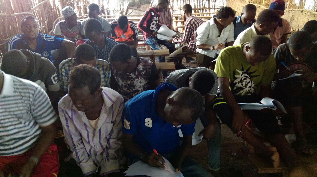 "Focus group with Somali refugees in Kakuma, Kenya, during the research for ""The Case of Somali and South Sudanese Refugees in Kenya"""