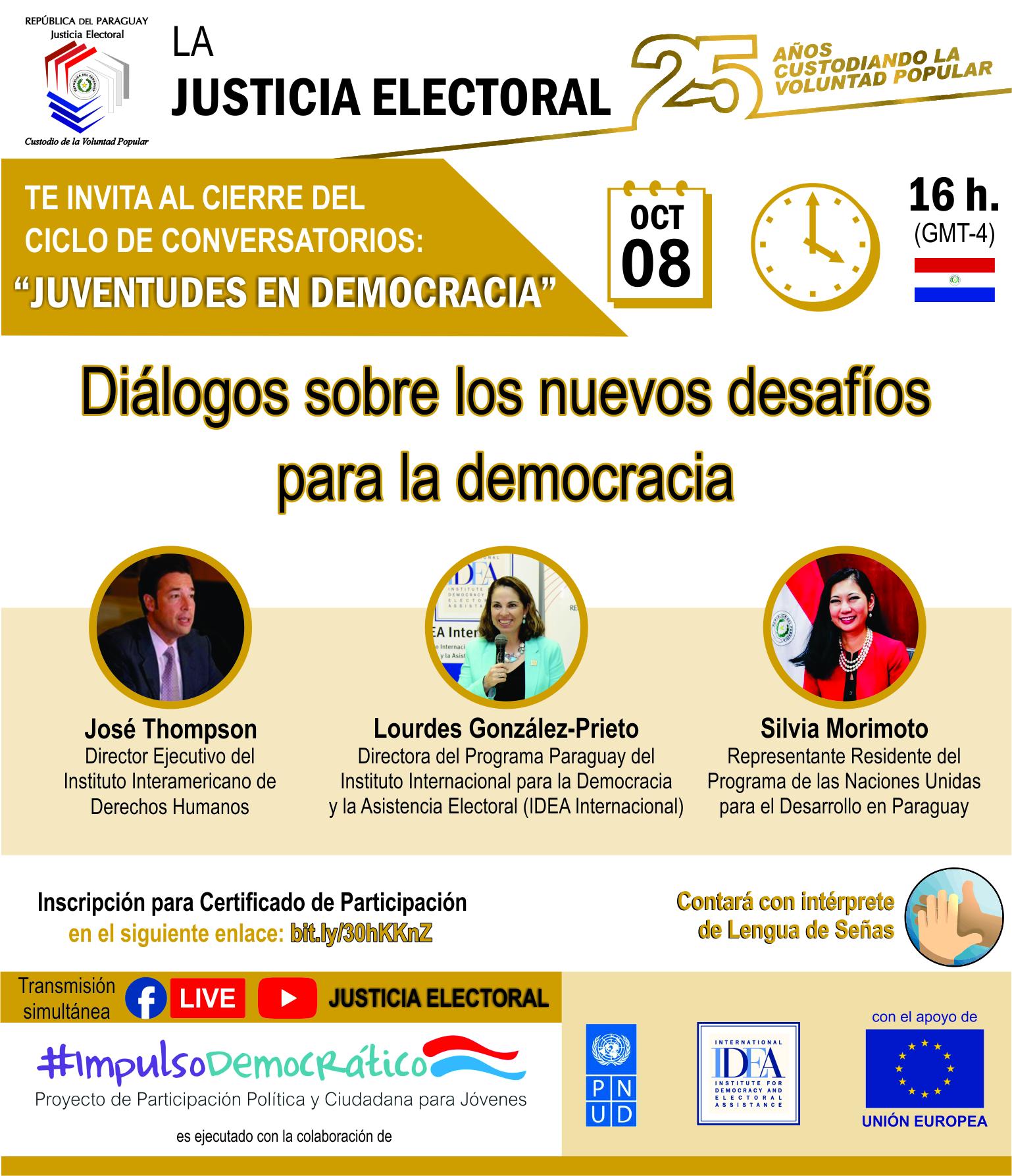 """Flyer de conversatorios virtuales """"Juventudes en Democracia"""" - Evento Final"""