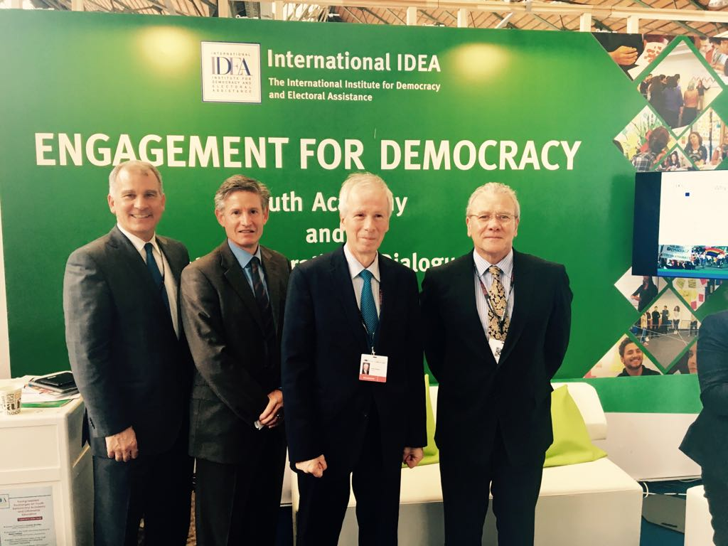 Ambassador Gutiérrez, Ambassador Costello, Ambassador Dion and Director Andrew Bradley at the opening of the stand.