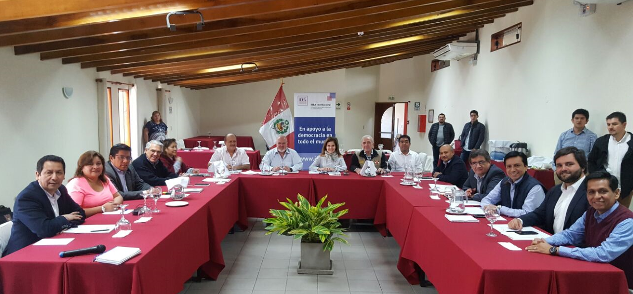 Members of Parliament from Peruanos por el Kambio (PPK) during meeting held on 20-21 July. Photo Credit: International IDEA