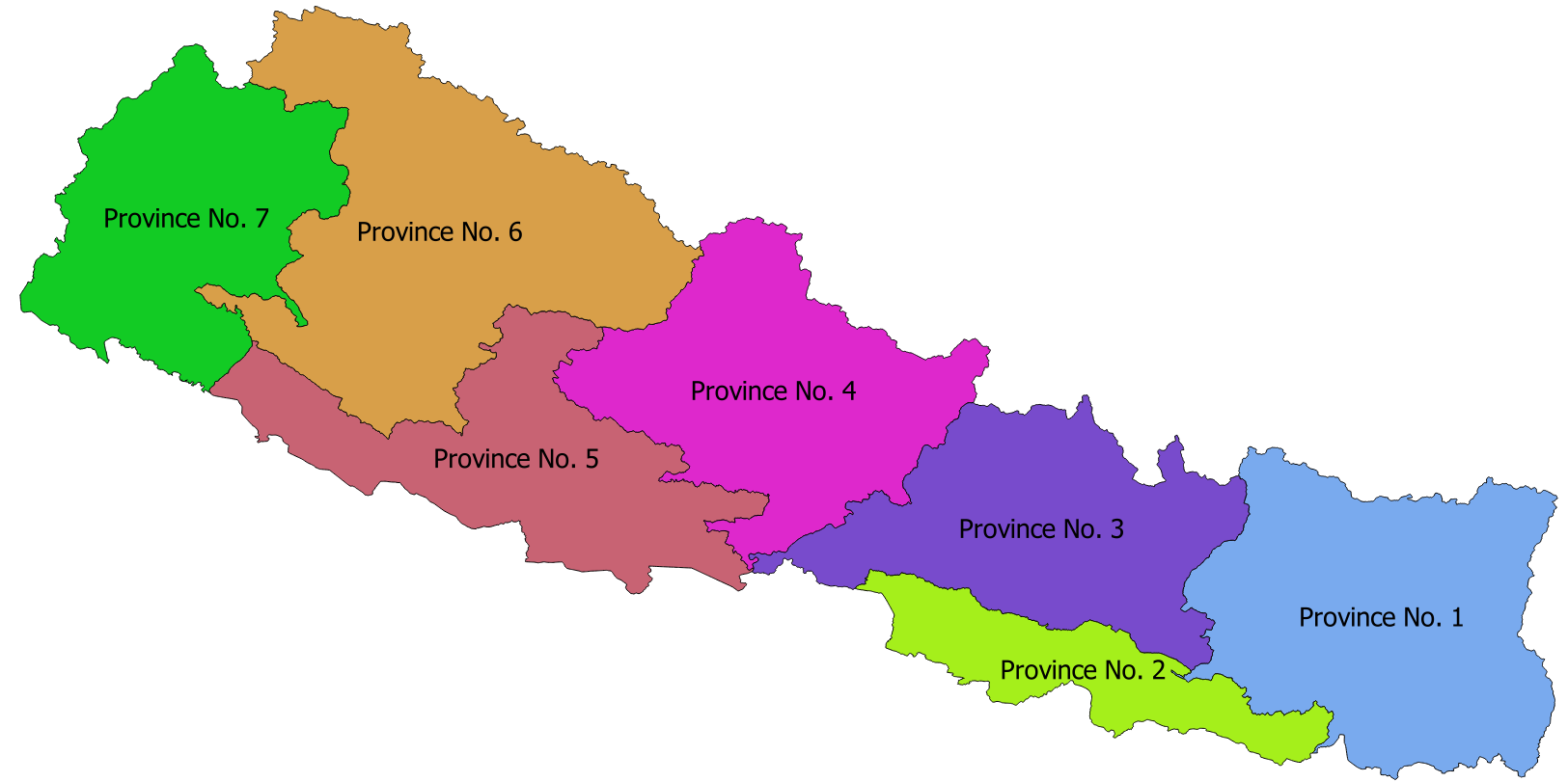 According to the new constitution of Nepal, adopted on 20 September 2015, the country is divided into seven provinces.