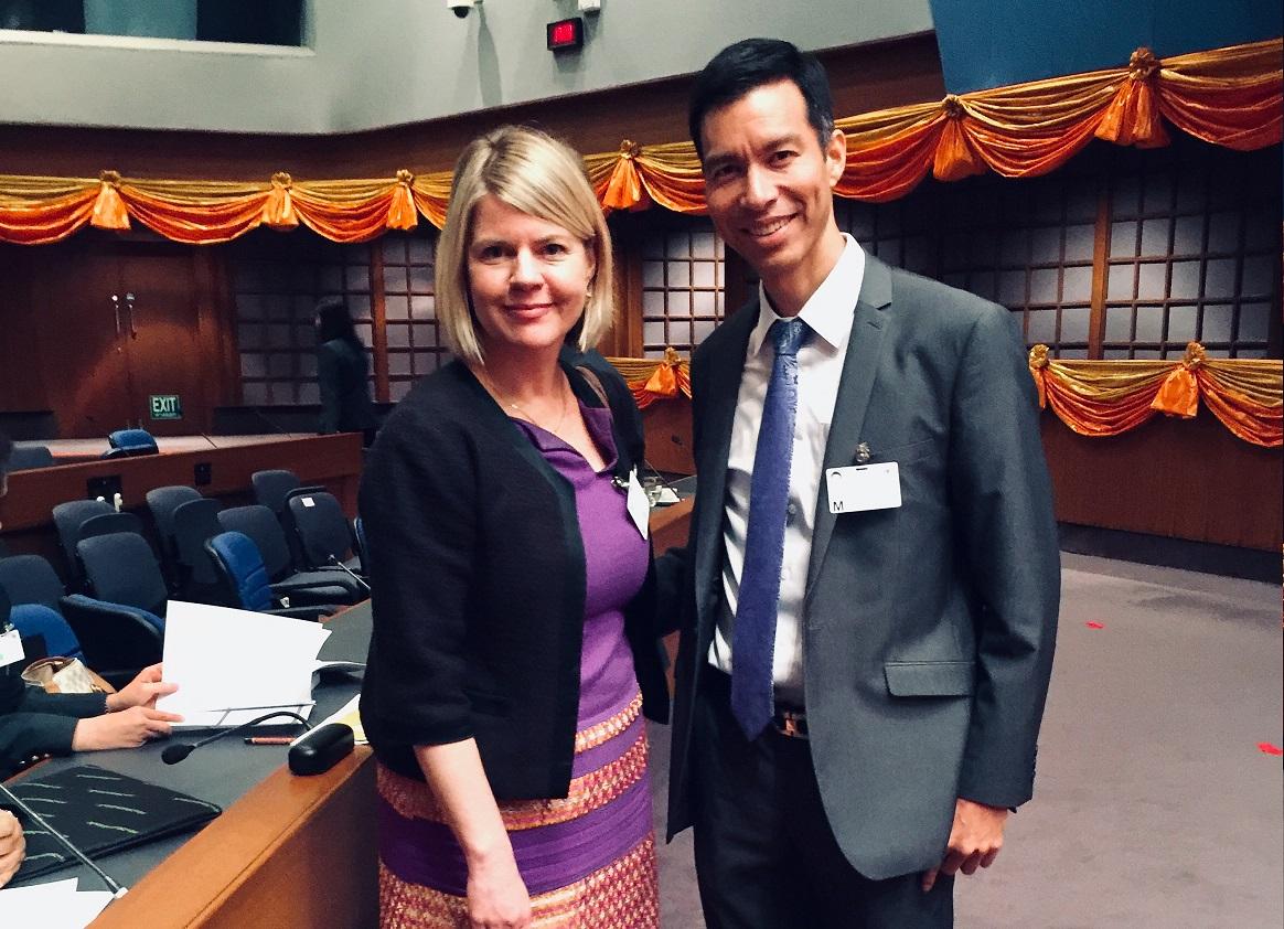 Leena Rikkilä Tamang, Regional Director for Asia and the Pacific, International IDEA is with Associate Professor Dr Jade Donovanik, KPI. Image credit: International IDEA