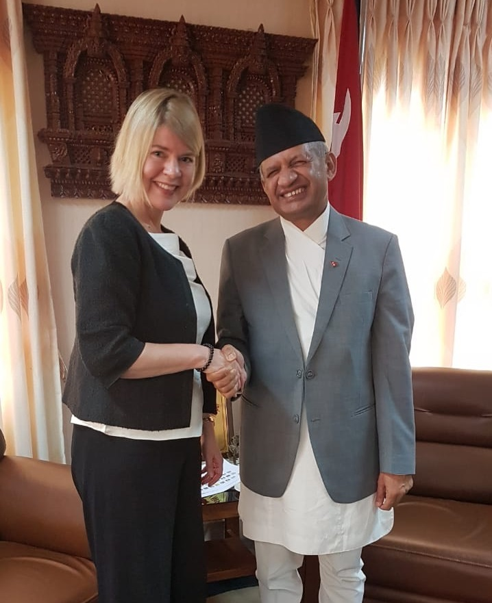 Minister for Foreign Affairs of Nepal, Hon Pradeed Kumar Gyawali with Ms Leena Rikkilä Tamang. Photo credit: International IDEA.