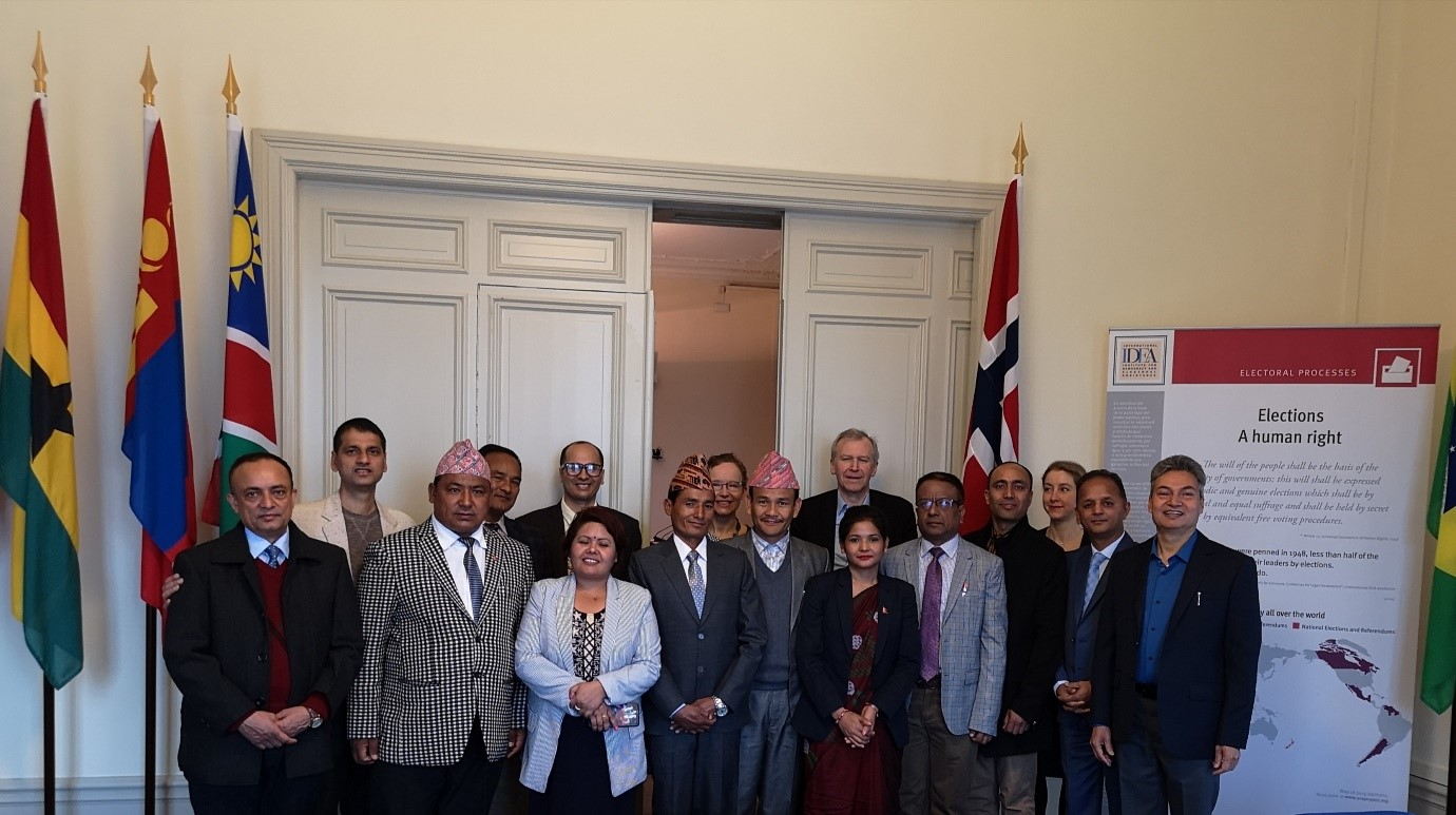 High-level government delegation from Nepal led by Joint Secretary Suresh Adhikari Ministry of Federal Affairs and General Administration, with the International IDEA Secretary-General Yves Leterme and staff