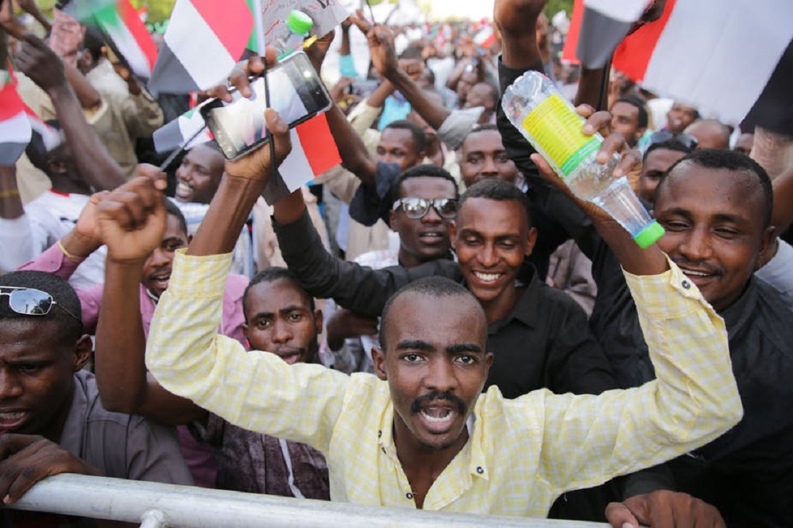 Supporters of Sudan's military rulers rally in Khartoum. EPA-EFE-Marwan Ali