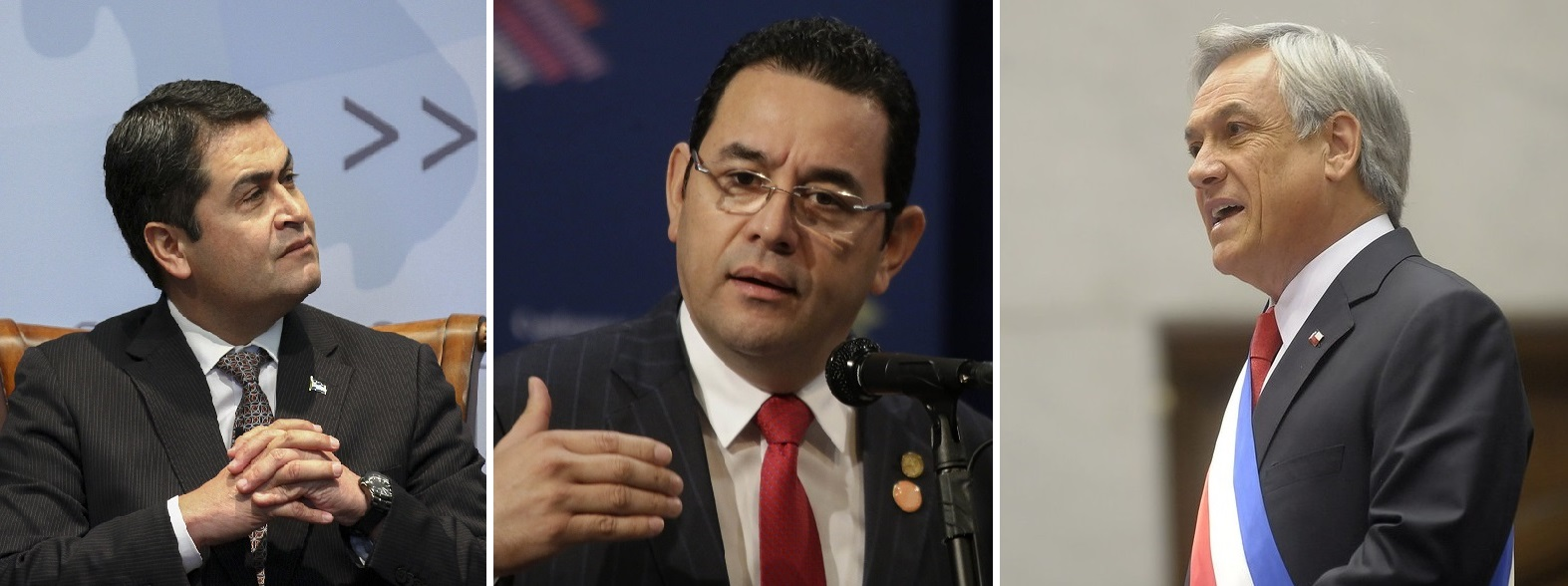 Three presidents who have been singled out for receiving illicit funding in their campaigns: Juan Orlando Hernández, from Honduras; Sebastián Piñera, from Chile, and Jimmy Morales, from Guatemala. Image credit: Presdiencia El Salvador, CSIS, Gobierno de Chile@flckr