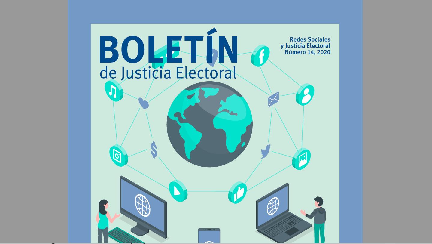 Fragmento de portada del Boletin Justicia Electoral, no. 14, abril 2020.