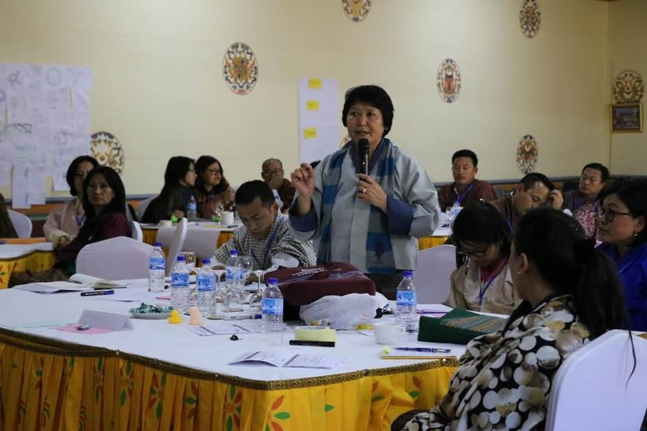 Former minister Dasho Dorji Choden, the first female minister, addresses the challenges Bhutanese women politicians face before her fellow participants during the Bhutan Women Parliamentary Caucus orientation workshop held in Paro in November 2019.  Photo credit: International IDEA