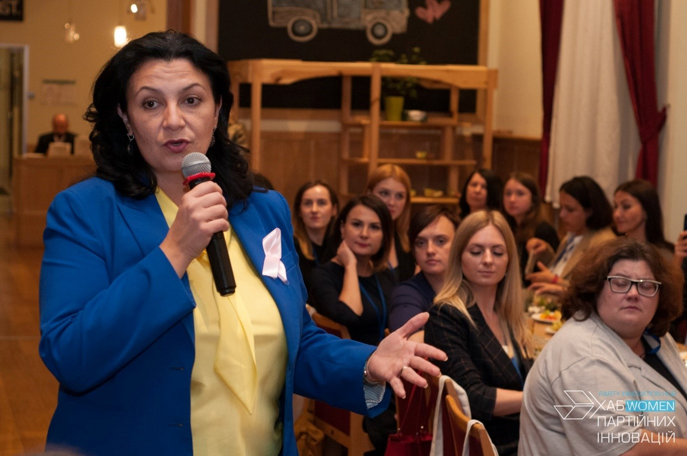 Ivanna Klympush-Tsintsadze, former vice prime minister for European and Euro-Atlantic integration, speaking with participants of the Party Innovations Hub Women, held in October 2019.Photo credit: International IDEA