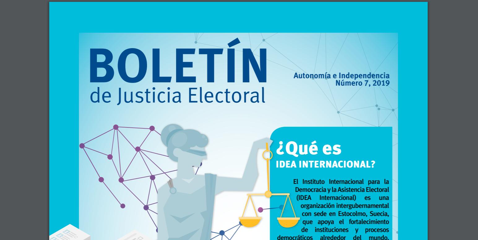 Fragmento de la portada del Boletín de Justicia Electoral No.7