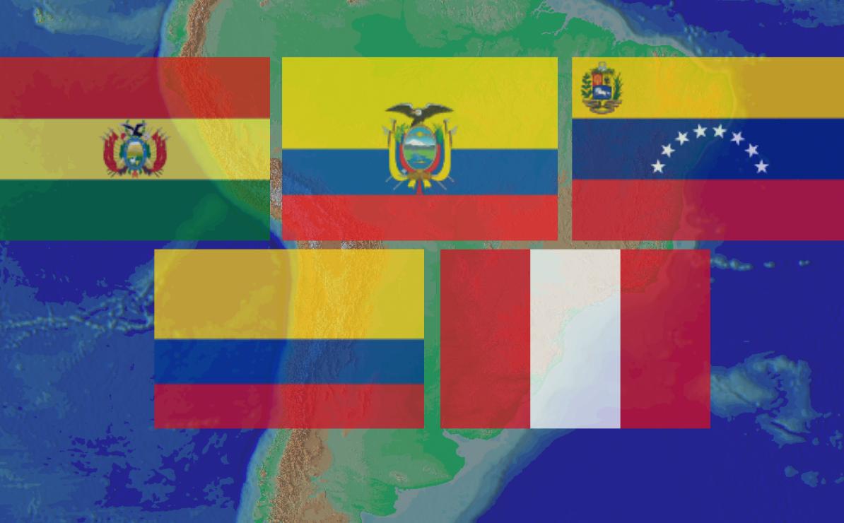 Banderas de los países de la región andina