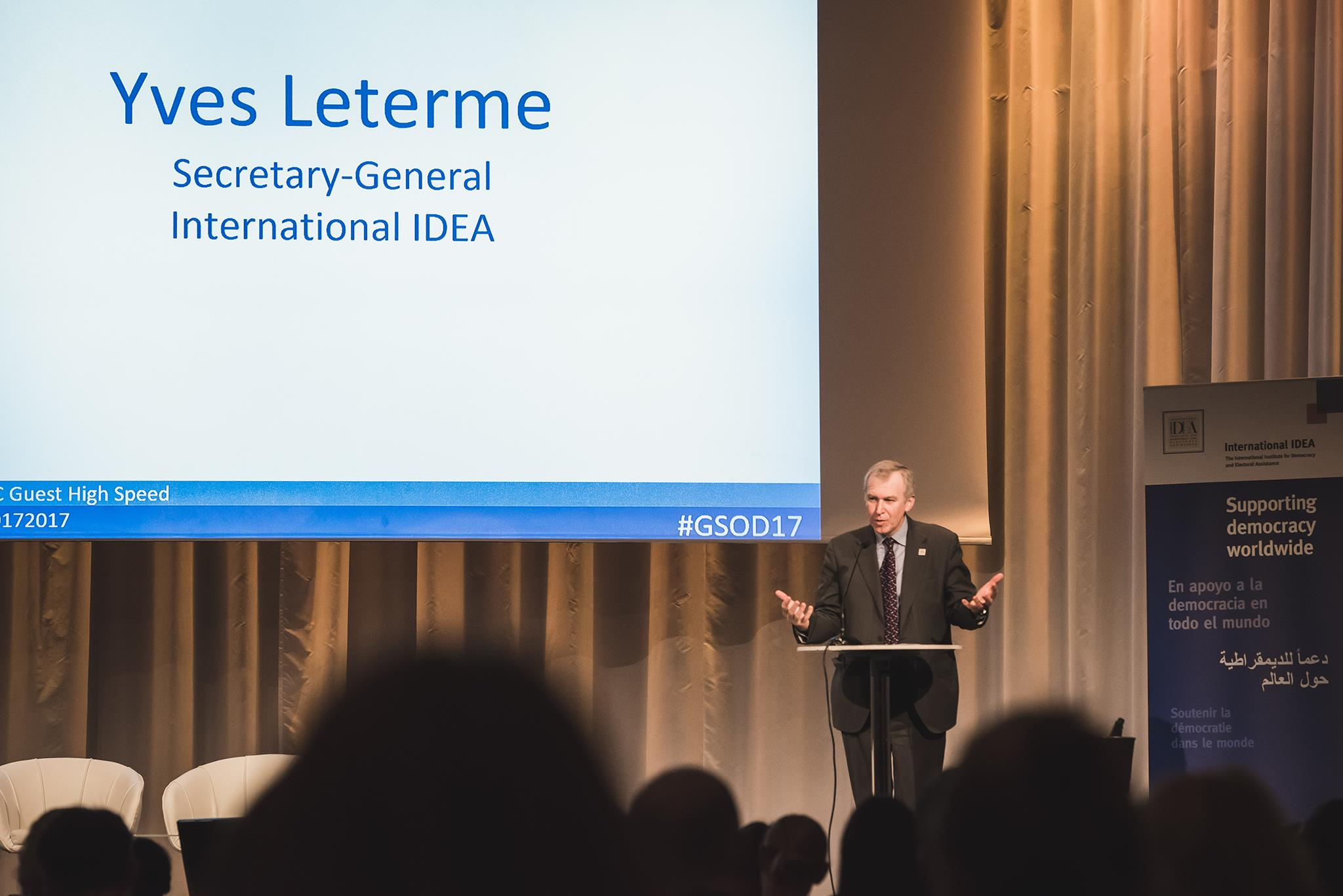 Secretary-General Yves Leterme at The Global State of Democracy launch, Stockholm, 15 November 2017. Image: Stuudio Huusmann