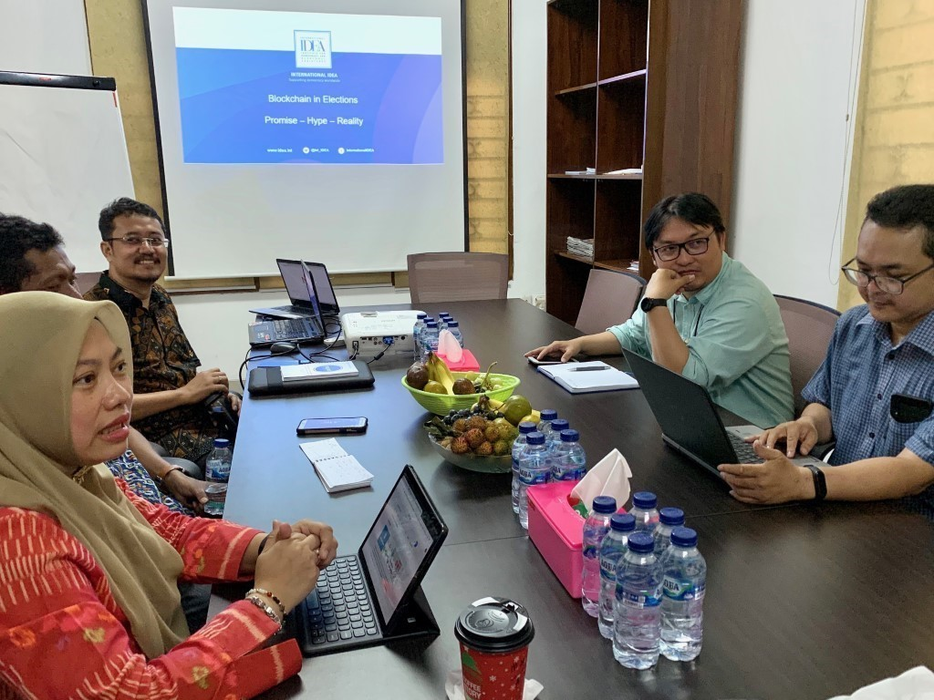 Working with CSOs and IT experts on Technology in Elections at NETGRIT office in Jakarta, Indonesia, 2 December 2019. Image credit: Adhy Aman, International IDEA