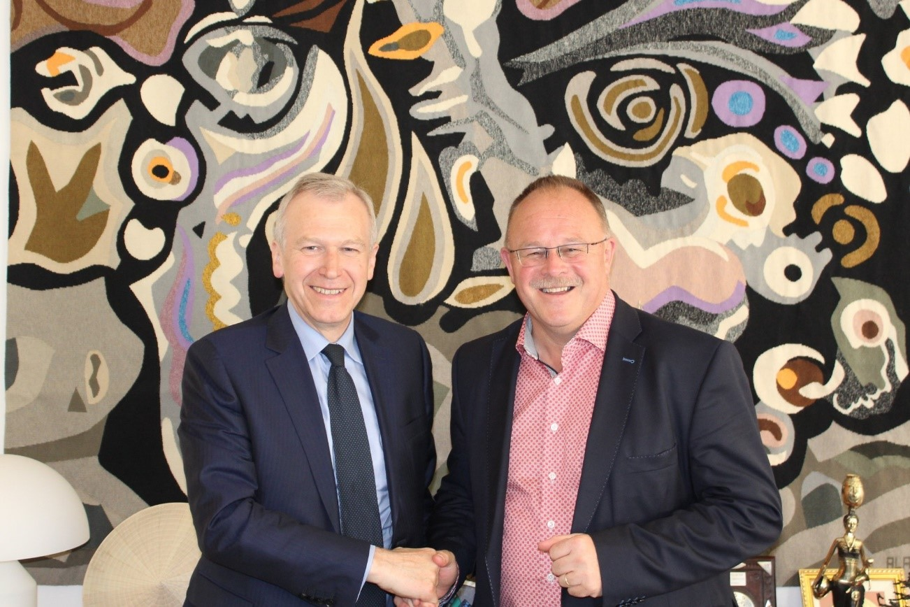 The Secretary -General with Mr Romain Schneider, Minister for Development Cooperation in Luxembough. Photo credit: Ministry of Foreign Affairs of Luxembough.
