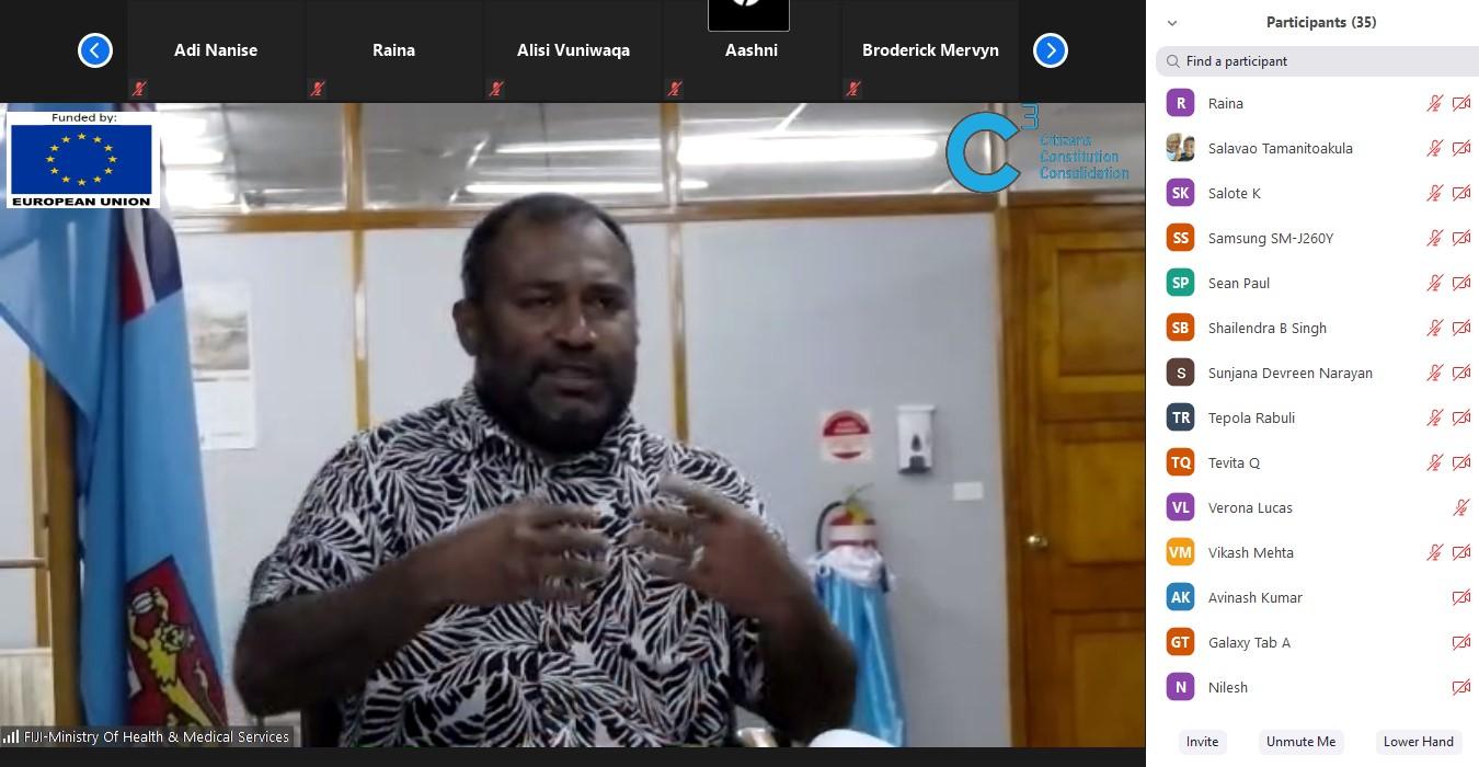 The Hon. Dr Ifereimi Waqainabete explaining the response of the Ministry.