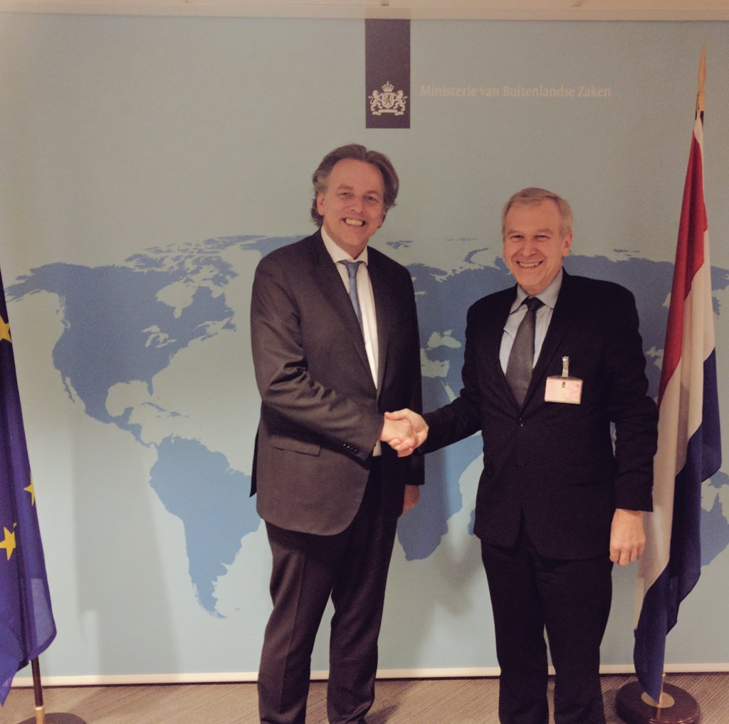 Dutch Foreign Minister Bert Koenders greets International IDEA Secretary General Yves Leterme in The Hague, The Netherlands