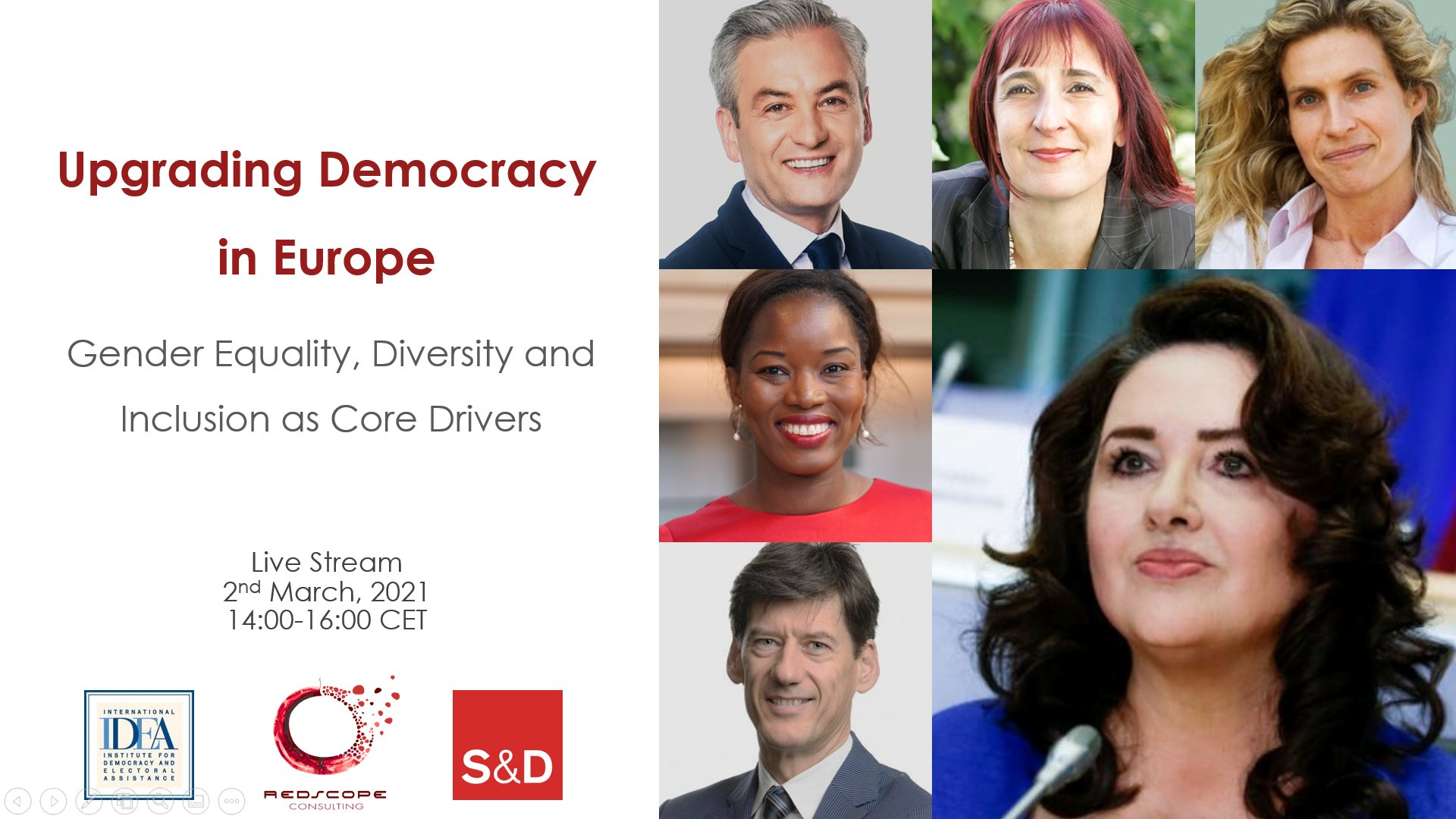 Senior Experts Dialogue on Upgrading Democracy in Europe: Gender Equality, Diversity and Inclusion as core drivers, 2 March 2021