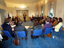 """International IDEA workshop attendeesdiscuss a different approach: """"Democracy Assistance and Results Management – from Upward Accountability and Control to Ownership and Learning"""". Photo: International IDEA"""