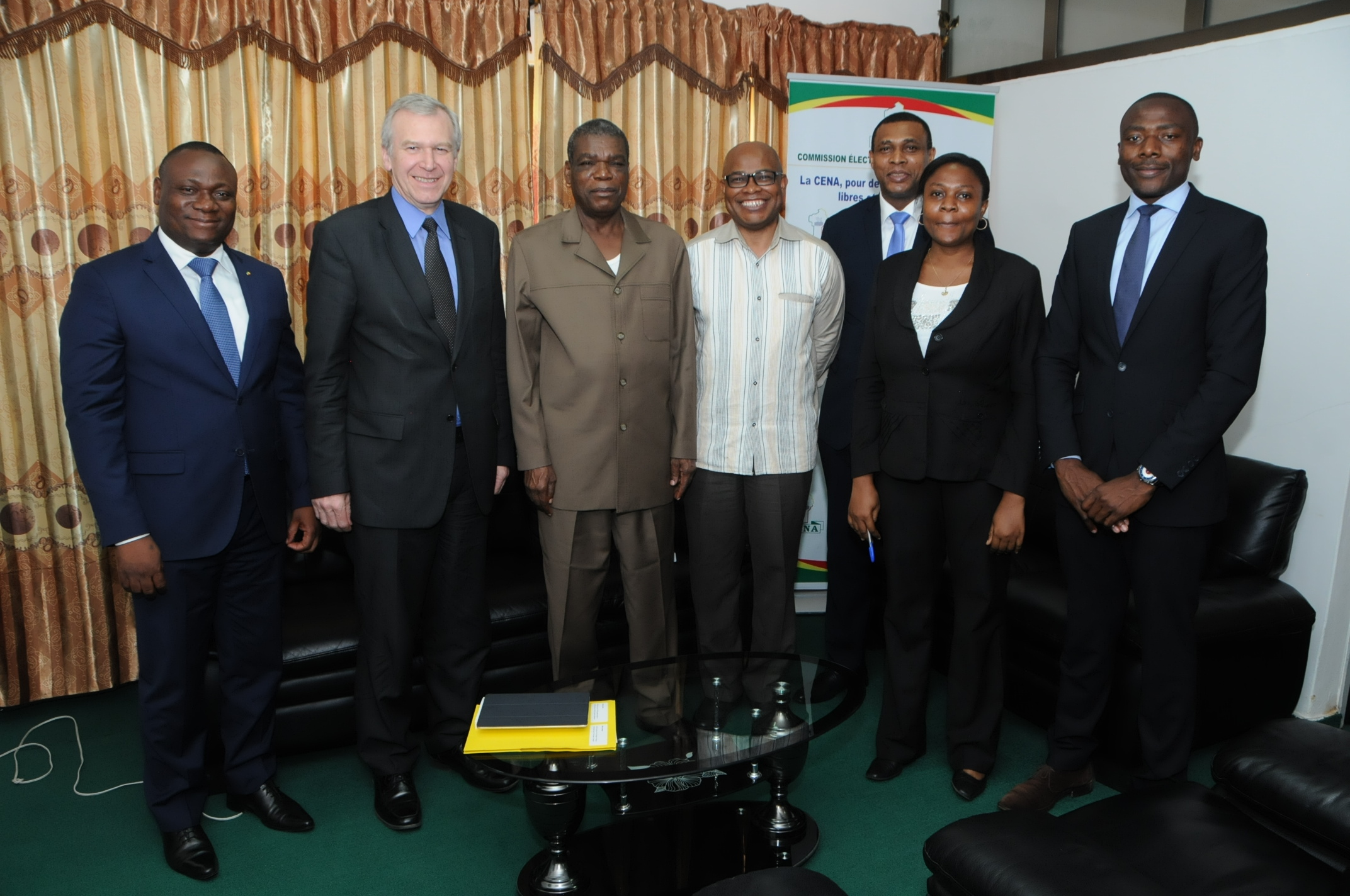 Left to right: Christophe Dangnihin (Europe Director, Benin Ministry of Foreign Affairs), Yves Leterme (Secretary-General, International IDEA), Emmanuel Tiando (Chairperson, CENA Benin), Adebayo Olukoshi (AwA Director, International IDEA), Mrs Toure (Benin, Ministry of Foreign Affairs) Maurice Mboula Jean-Claude Didier Enguelegue (Senior Programme Officer, International IDEA) & Tayuh Ngenge (Programme Officer, International IDEA).