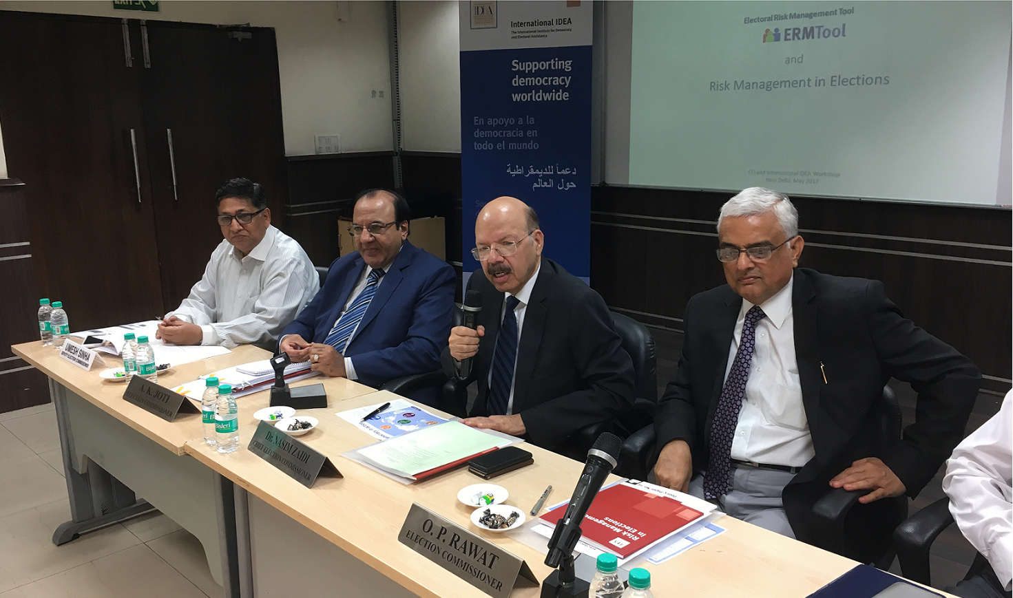L to R: Mr Umesh Shinha (Deputy Election Commissioner), Mr A. K. Joti (Election Commissioner), Dr Nasim Zaidi (Chief Election Commissioner), & Mr O. P. Rawat (Election Commissioner) [Photo: Adhy Aman/International IDEA]