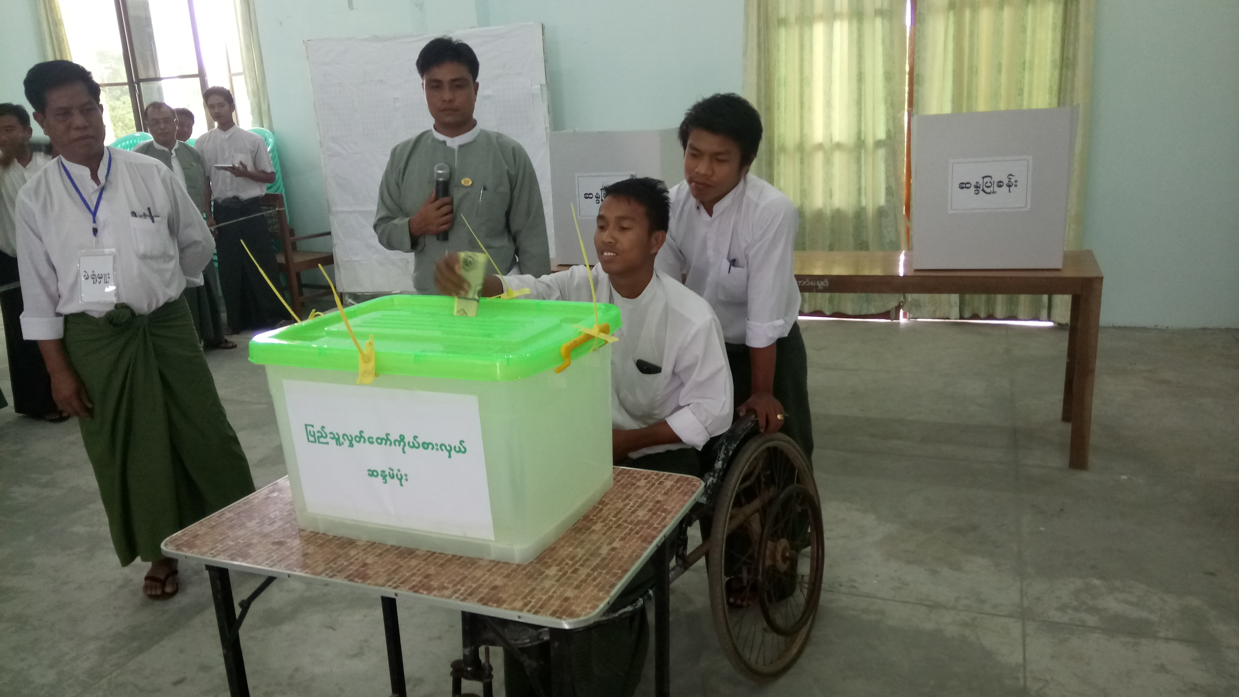 Election officials of wards and village-tracts of Monywa, Sagaing region, learning about challenges faced by Persons with Disabilities for access to polling stations - photo credit: Saket Ambarkhane