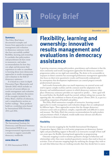 policy brief example template - flexibility learning and ownership innovative results