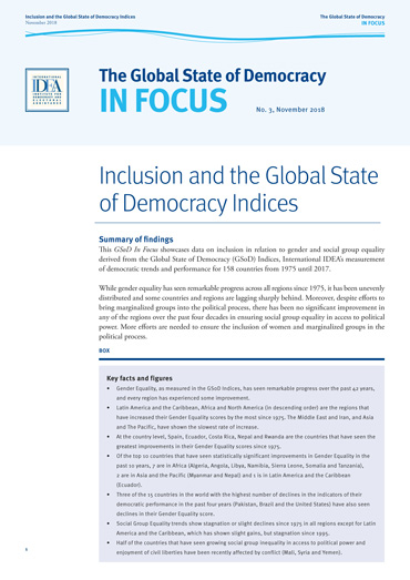 Inclusion and the Global State of Democracy Indices