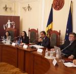 "international IDEA presents at ""Particularities of the Electoral Laws application in Parliamentary Elections"" in Chisinau, Moldova. Image credit: Natalia Iuras, International IDEA"