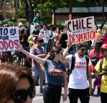 People on the streets in Chile protesting, October 2019.