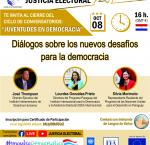 "Flyer de conversatorios virtuales ""Juventudes en Democracia"" - Evento Final"