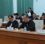 Tom Ginsburg (right) with members of the Constitutional Tribunal of the Union of Myanmar. Photo: Ohnmar Zin