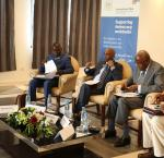 From left to right: Adebayo Olukoshi, Intrnational IDEA AWA Director ; Job Akuni, Representative of the African Union Commission; Beruk Negash, Representative of ACBF ; Inzoungou Zely Pierre, Representative of the Chairperson of the PanAfrican Parliament ; Eddy Maloka, Chief Executive Officer of APRM.