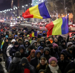 Street protest in Bucharest, Romania, 2017