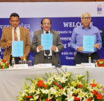 From left to right: Vivek Khare (Director, ECI), Dr Sudeep Jain (Director-General of IIIDEM), Sh. A K Joti (Chief Election Commissioner, ECI), SY Quraishi (BoardAdviser, International IDEA), Erik Asplund (Programme Officer, International IDEA). Photo credit: ECI, India, 25 July 2017.