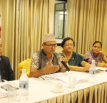 Mr Krishna Prasad Jaisi, Spokesperson of Association of District Development Committees of Nepal (ADDCN) delivering his views/speech. Photo credit: International IDEA.