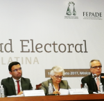 "Panel discussion on ""Money and politics"" during the Conference on Electoral Integrity in Latin America held on August 14 and 15, 2017 in Mexico City. From left to right: Michael Svetlik, Vice President of the International Foundation for Electoral Systems (IFES); Juan Pablo Pozo, President of the National Electoral Council of Ecuador; María Marván, President of Transparencia Mexico and Dr Daniel Zovatto, Regional Director for Latin America and the Caribbean of International IDEA. Photo Credit: International"