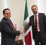 Dr Miguel Ángel Lara Otaola met with INAI's Commissioner President, Dr Francisco Javier Acuña. Image credit: International IDEA