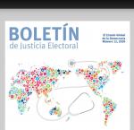 Fragmento de portada del Boletin Justicia Electoral, no. 12, enero 2020.