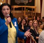 Ivanna Klympush-Tsintsadze, former vice prime minister for European and Euro-Atlantic integration, speaking with participants of the Party Innovations Hub Women, held in October 2019. Photo credit: International IDEA