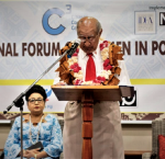 The Chief Guest, Ratu Epeli Nailatikau, Speaker of the Fijian Parliament opening the National Forum, onlooked by the Deputy Speaker, Veena Kumar Bhavnagar. (Image credit: Dialogue Fiji)