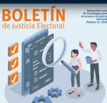 Fragmento de la portada del Boletin Justicia Electoral, no. 15, mayo 2020.