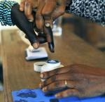 A woman has her finger dipped ink after voting in legislative by-elections in Grand Laho, Côte d'Ivoire Image: UN/Hien Macline