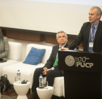 International IDEA Secretary-General Yves Leterme presenting at the Annual Democracy Forum in Lima, Peru, 21 November 2017. Image: Yael Rojas.