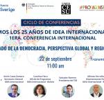 Cartel de la conferencia y fotos de sus participantes
