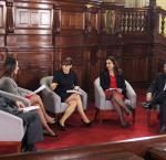 Yohny Lescano (Acción Popular), Patricia Donayre (Peruanos Por el Kambio), Patricia del Río, Marisol Espinoza (Alianza para el Progreso) y Percy Medina (IDEA Internacional), debaten la Reforma electoral en el Congreso. Foto: RPP.
