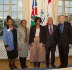 From left to right: Advocate Notemba Tjipueja, Chairperson of the Electoral Commission of Namibia; Morina Muuondjo, Ambassador of Namibia to Sweden; Maureen Magreth Hinda, Deputy Minister of International Relations and Cooperation of Namibia; José Beraún Aranibar, Ambassador of Peru to Sweden; and Yves Leterme, Secretary-General of International IDEA. Photo © Lisa Hagman, International IDEA