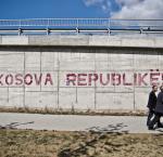 """Kosova Republikë!"" printed on awall in Pristina, Kosovo"