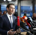 Austrian People's Party leader, Sebastian Kurz, talking to media