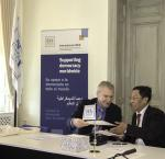 His Excellency Chairman U Hla Thein and Yves Leterme at the Memorandum of Understanding signing ceremony